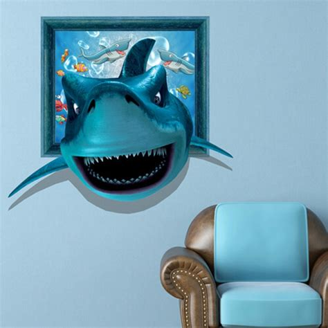 3d wall stickers for 3d shark wall decals wall painting stickers 26 inch removable home decor alex nld
