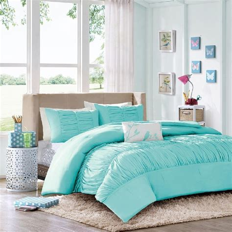 comforter sets for teen girls tiffany blue aqua ruched