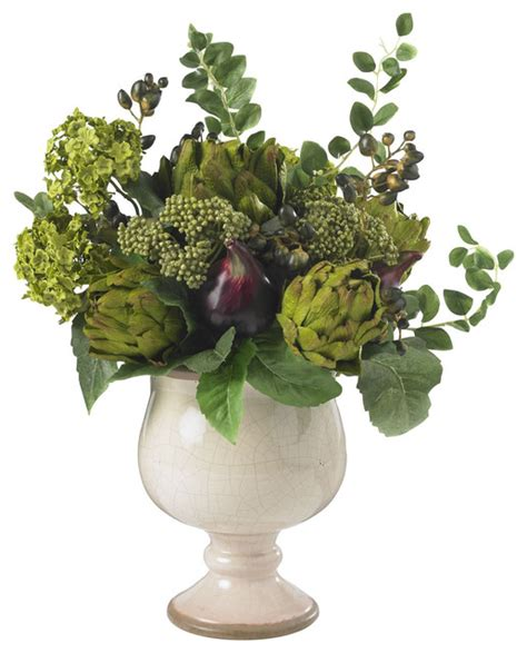 silk flower arrangements artichoke and hydrangea silk flower arrangement