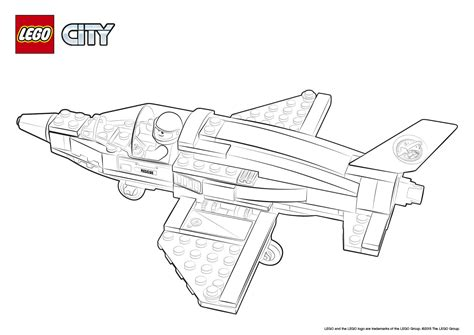coloring page lego city 60079 training jet transporter colouring page lego