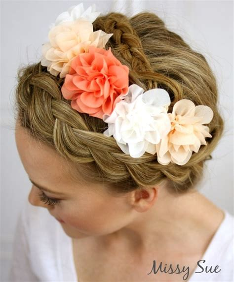 the triple braided bun with flower crown hairstyle design page 4 of 29 fabulous braided updos for modern day princesses