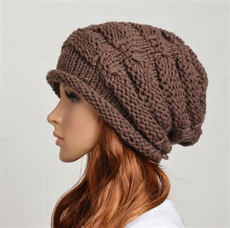 Handmade Knitted Hats - wool handmade knitted crochet hat clothing brown