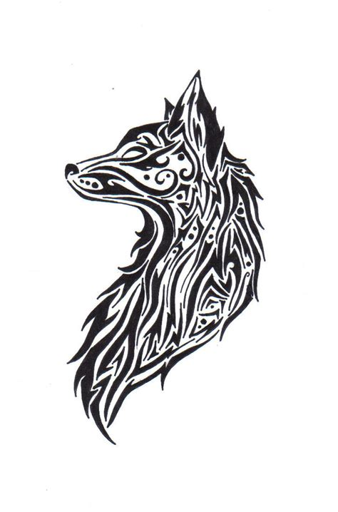 tribal wolf tattoos art tribal wolf by theangelstar on deviantart
