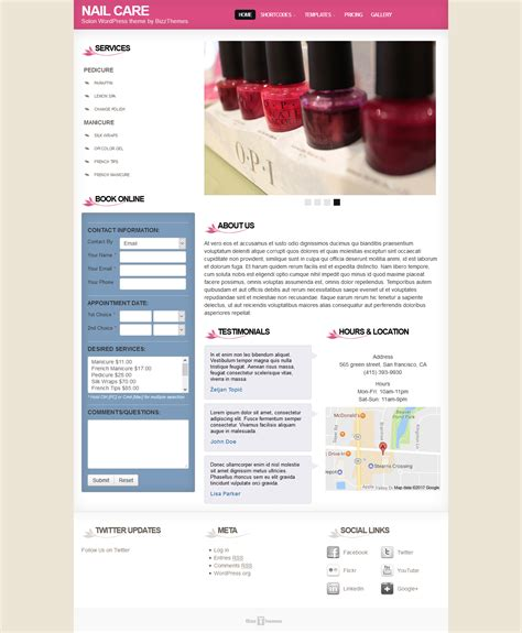 wordpress themes free nails beauty wordpress themes download premium wp themes