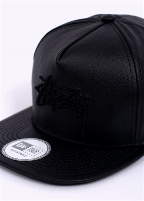 Topi Hats Stussy 1 stussy stock new era cap leather black