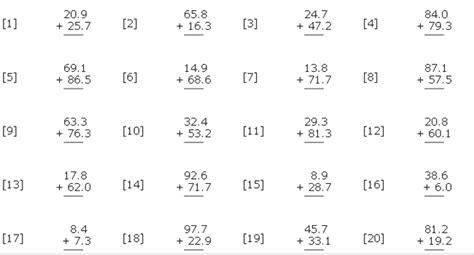 basic math decimals worksheet sample