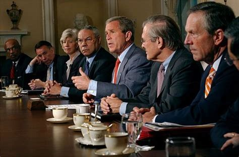 president bush meets with his cabinet