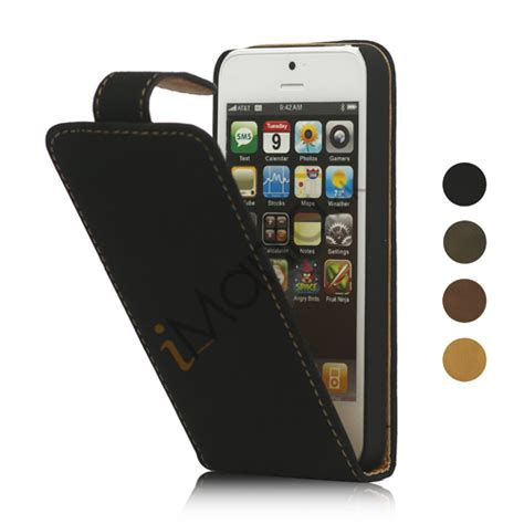 Flipcover Flipcase Book Cover Apple 2 3 4 1 lodret soft pu leather flip iphone 5 cover sort