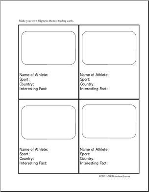 Writing Prompt Make Your Own Olympic Trading Cards Elementary Abcteach Trading Card Design Template