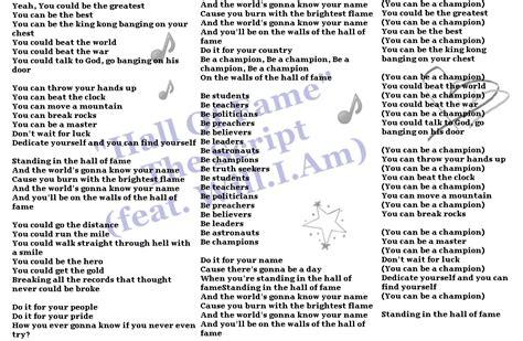 printable lyrics hall of fame lyrics to hall of fame by the script dedicated to