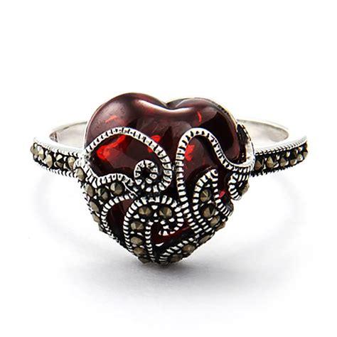 garnet glass sterling silver marcasite ring s