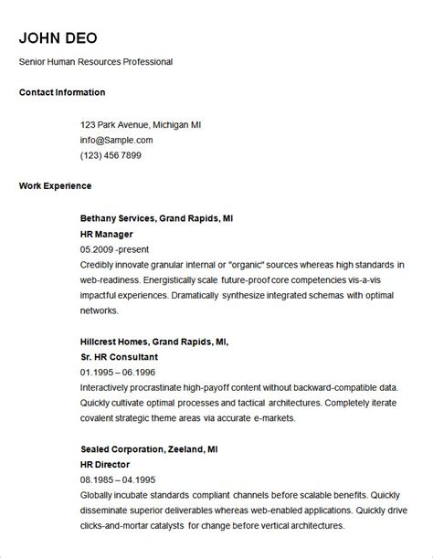 Free Sle Of Basic Resume Basic Resume Template Free Learnhowtoloseweight Net
