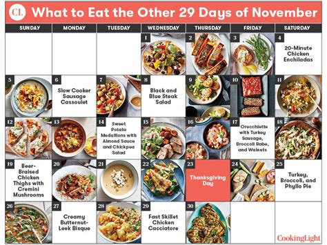 cooking light meal plan what to eat the other 29 days of november cooking light