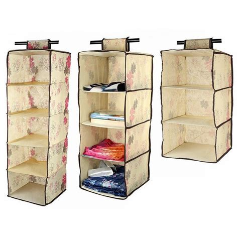 Wardrobe Hanging Storage by Lagute Hanging Shelf Wardrobe Storage Clothing Shelves Bag