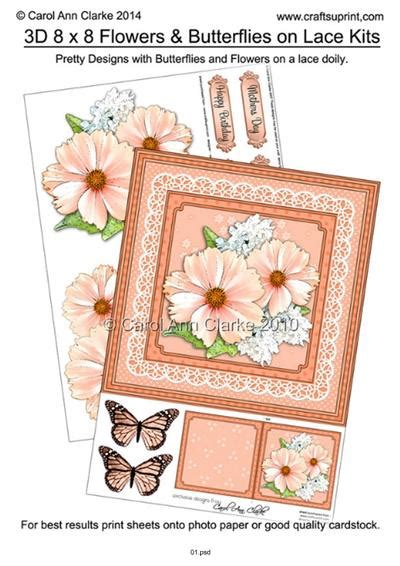 3d Decoupage Tutorial - 8 x 8 flowers butterflies lace 3d decoupage mini kits