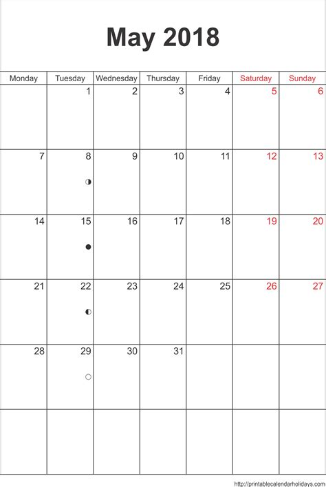 calendar of may 2018 printable monthly template