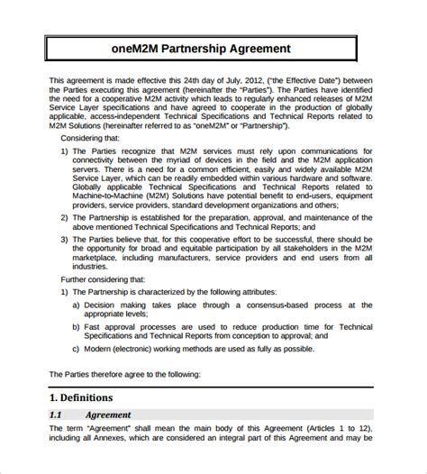 agreement template free sle partnership agreement 16 free documents