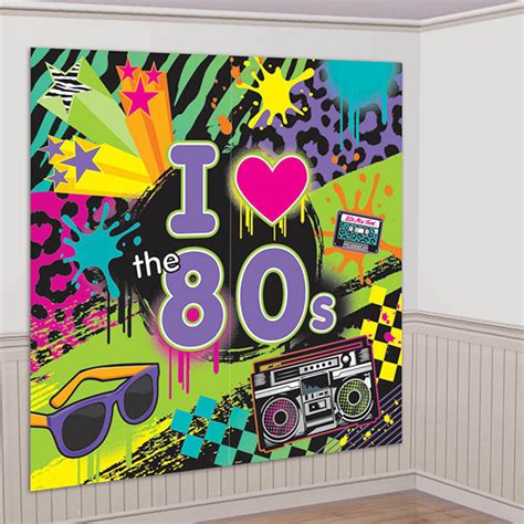 80s themed decorations 1980s theme supplies totally 80s wall decorating kit