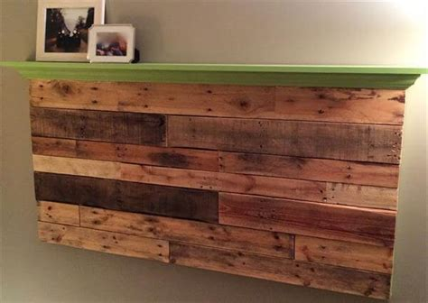how to make a wall mounted headboard pallet wall headboard with shelf pallet furniture diy