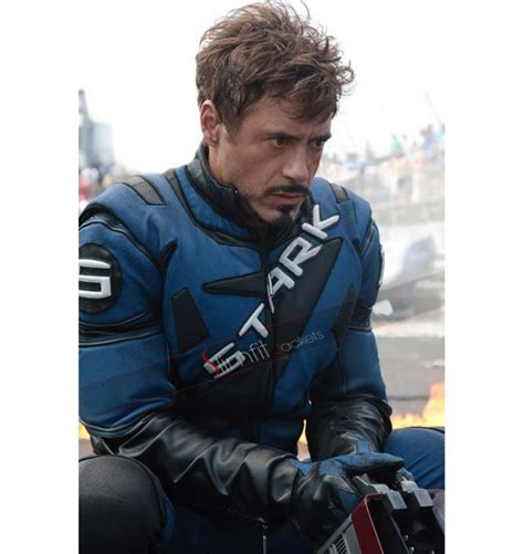 Iron Tony Stark iron tony stark racing blue leather jacket