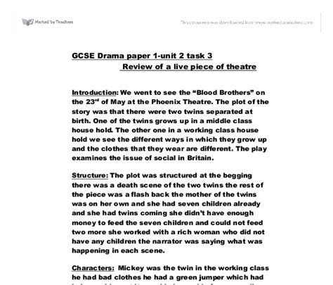 Blood Essay by Blood Brothers Review Essay
