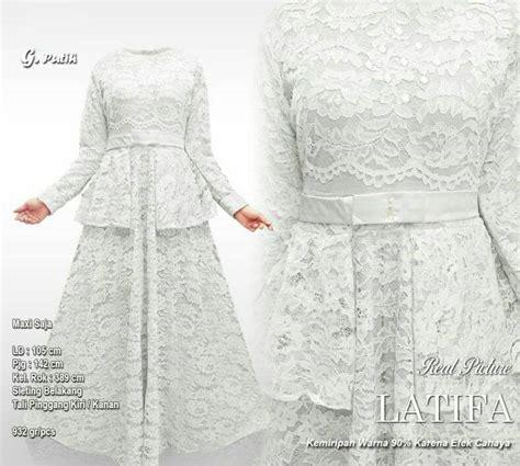 Baju Muslim Latifa Syari gamis brokat terbaru 2018 latifa lace putih model baju