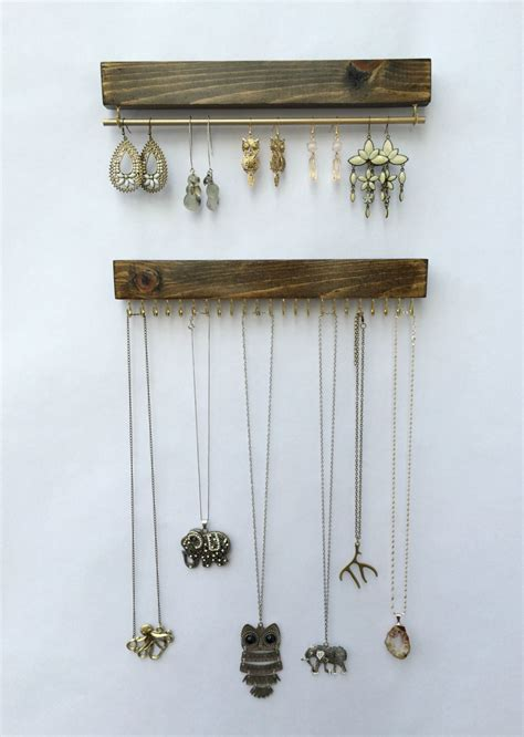 jewelry holder wall mount jewelry organizer necklace holder and earring