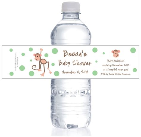 Monkey Water Bottle Labels monkey baby shower water bottle labels
