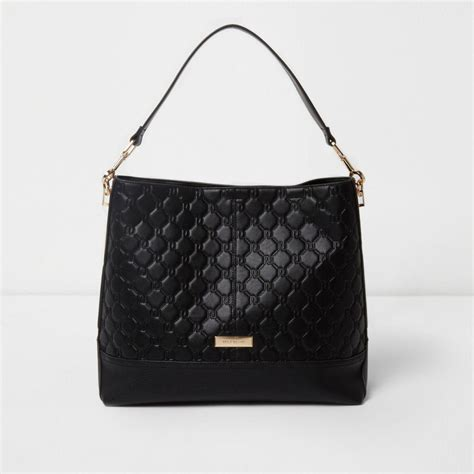 river island black monogram slouch underarm bag black