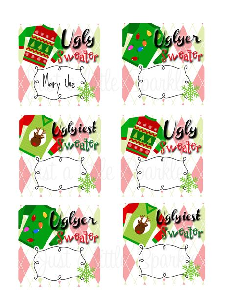 printable ugly christmas sweater ugly sweater voting ballots diy you print winner ribbons