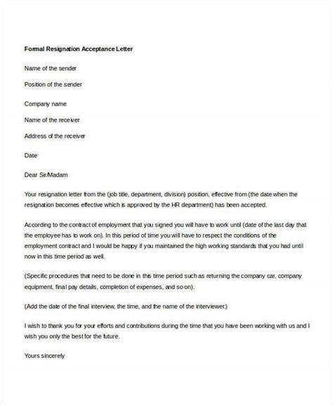 formal resignation letters sample