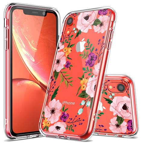 iphone xr luhouri clear iphone xr pink floral heavy duty protective
