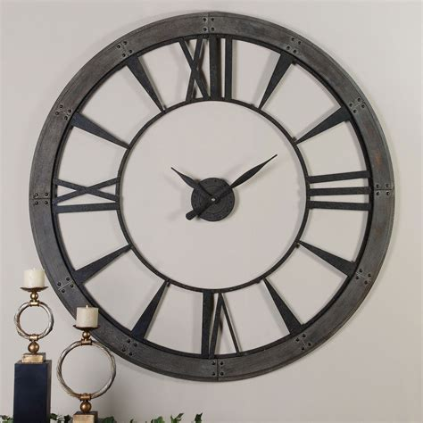 giant wall clock ronan rustic bronze large wall clock uttermost wall