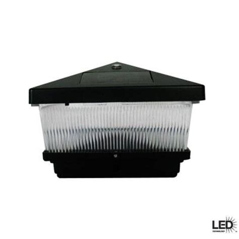 hton bay black solar post cap led light with 6 x 6