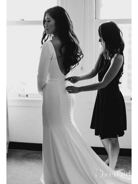 Simple Long Sleeve Ivory Mermaid Wedding Dresses Plus Size AWD1361 – SheerGirl