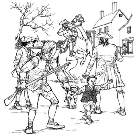paul revere and people coloring page kids coloring pages