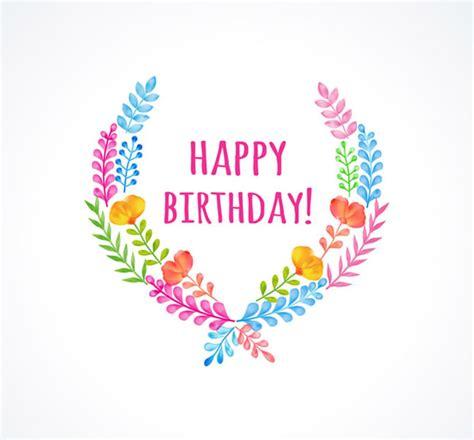 happy birthday design ai 水彩花卉花边设计生日背景矢量素材下载 数码资源网