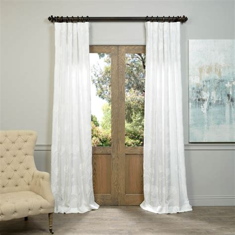 embroidered linen curtains ginko white embroidered crewel faux linen curtain