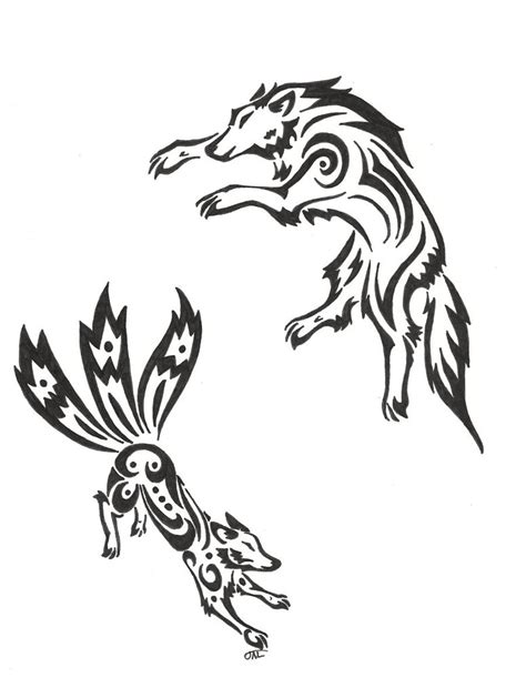 fox and wolf tribal by neodragonarts on deviantart
