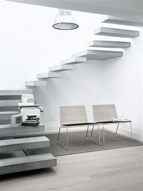 Interior Concrete Stairs Design Spiral Staircase With Floating Concrete Steps On Inspirationde