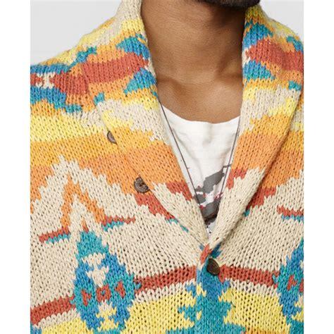 Pasmina Denim Motif 12 lyst denim supply ralph southwestern shawl collar cardigan for