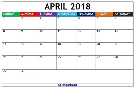 april 2018 calendar blank template 2018 blank calendar monthly templates free