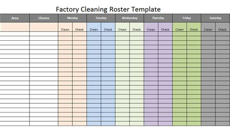 Factory Cleaning Roster Scheduling Template Excel About Roster Template Excel