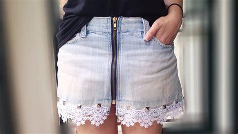 como decorar mis jeans rotos como hacer una falda vaquera con encaje muy chic hazlo