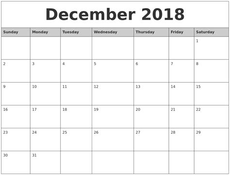 printable calendar by month 2018 december 2018 monthly calendar printable