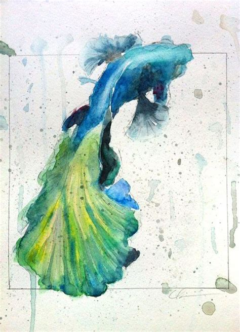watercolor tattoos fish colorful betta fish watercolor by clair hartmann original