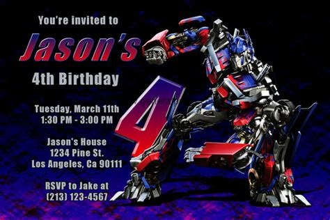 transformer invitation template transformers invitations with megatron and optimus prime