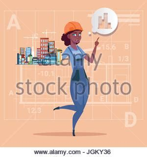 ready house real estate cartoon female builder african american wearing uniform and helmet stock vector art
