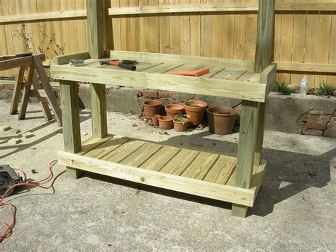 homemade potting bench diy rustic potting bench easy diy and crafts