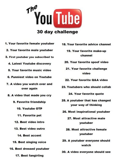 challenge ideaschallenge the 30 day challenge youtubers